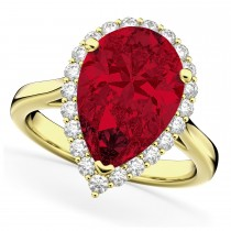 Pear Cut Halo Ruby & Diamond Engagement Ring 14K Yellow Gold 8.34ct