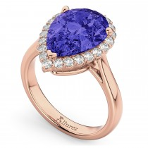 Pear Cut Halo Tanzanite & Diamond Engagement Ring 14K Rose Gold 8.34ct