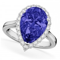 Pear Cut Halo Tanzanite & Diamond Engagement Ring 14K White Gold 8.34ct