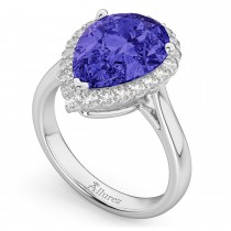 Pear Cut Halo Tanzanite & Diamond Engagement Ring 14K White Gold 8.34ct