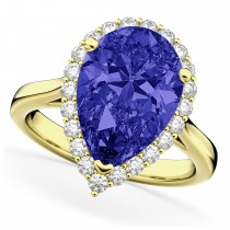 Pear Cut Halo Tanzanite & Diamond Engagement Ring 14K Yellow Gold 8.34ct