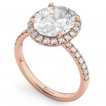 Oval Cut Halo Diamond Engagement Ring 14K Rose Gold (3.51ct)