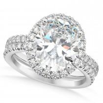 Diamond Oval-Cut Halo Curved Bridal Set 14k White Gold (3.78ct)
