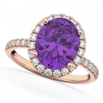 Oval Cut Halo Amethyst & Diamond Engagement Ring 14K Rose Gold 2.91ct