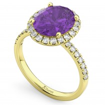 Oval Cut Halo Amethyst & Diamond Engagement Ring 14K Yellow Gold 2.91ct