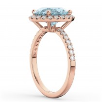 Oval Cut Halo Aquamarine & Diamond Engagement Ring 14K Rose Gold 2.76ct