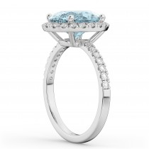 Oval Cut Halo Aquamarine & Diamond Engagement Ring 14K White Gold 2.76ct