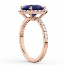 Oval Cut Halo Blue Sapphire & Diamond Engagement Ring 14K Rose Gold 3.66ct