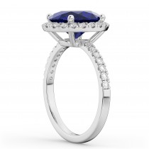 Oval Cut Halo Blue Sapphire & Diamond Engagement Ring 14K White Gold 3.66ct