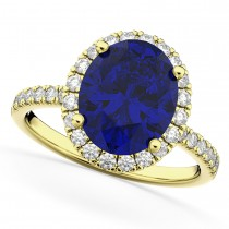 Oval Cut Halo Blue Sapphire & Diamond Engagement Ring 14K Yellow Gold 3.66ct