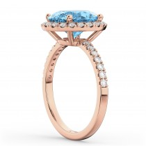 Oval Cut Halo Blue Topaz & Diamond Engagement Ring 14K Rose Gold 4.01ct