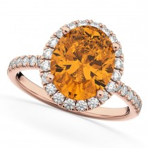 Oval Cut Halo Citrine & Diamond Engagement Ring 14K Rose Gold 2.91ct