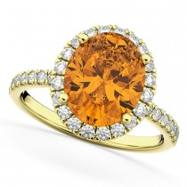 Oval Cut Halo Citrine & Diamond Engagement Ring 14K Yellow Gold 2.91ct