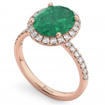 Oval Cut Halo Emerald & Diamond Engagement Ring 14K Rose Gold 3.11ct