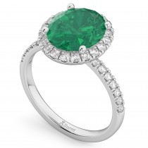 Oval Cut Halo Emerald & Diamond Engagement Ring 14K White Gold 3.11ct