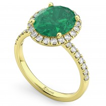 Oval Cut Halo Emerald & Diamond Engagement Ring 14K Yellow Gold 3.11ct