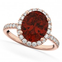 Oval Cut Halo Garnet & Diamond Engagement Ring 14K Rose Gold 3.31ct