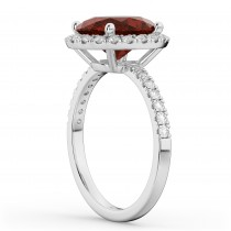 Oval Cut Halo Garnet & Diamond Engagement Ring 14K White Gold 3.31ct