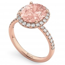 Oval Cut Halo Morganite & Diamond Engagement Ring 14K Rose Gold 2.81ct