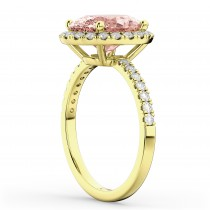 Oval Cut Halo Morganite & Diamond Engagement Ring 14K Yellow Gold 2.81ct