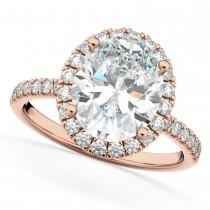 Oval Cut Halo Moissanite & Diamond Engagement Ring 14K Rose Gold 2.72ct