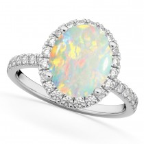Oval Cut Halo Opal & Diamond Engagement Ring 14K White Gold 2.16ct