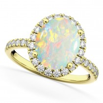 Oval Cut Halo Opal & Diamond Engagement Ring 14K Yellow Gold 2.16ct