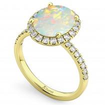 Oval Cut Halo Opal & Diamond Engagement Ring 14K Yellow Gold 2.16ct