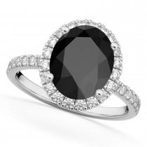 Oval Cut Halo Black Onyx & Diamond Engagement Ring 14K White Gold 2.91ct
