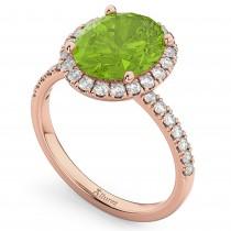 Oval Cut Halo Peridot & Diamond Engagement Ring 14K Rose Gold 3.01ct