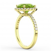 Oval Cut Halo Peridot & Diamond Engagement Ring 14K Yellow Gold 3.01ct
