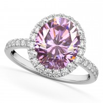 Oval Cut Halo Pink Moissanite & Diamond Engagement Ring 14K White Gold 2.72ct