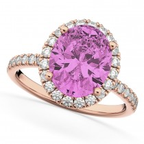 Oval Cut Halo Pink Sapphire & Diamond Engagement Ring 14K Rose Gold 3.66ct