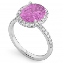 Oval Cut Halo Pink Sapphire & Diamond Engagement Ring 14K White Gold 3.66ct