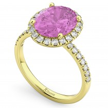 Oval Cut Halo Pink Sapphire & Diamond Engagement Ring 14K Yellow Gold 3.66ct