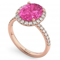 Oval Cut Halo Pink Tourmaline & Diamond Engagement Ring 14K Rose Gold 3.41ct
