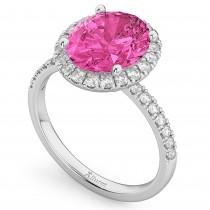 Oval Cut Halo Pink Tourmaline & Diamond Engagement Ring 14K White Gold 3.41ct