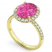 Oval Cut Halo Pink Tourmaline & Diamond Engagement Ring 14K Yellow Gold 3.41ct