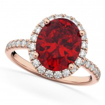 Oval Cut Halo Ruby & Diamond Engagement Ring 14K Rose Gold 3.66ct