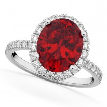 Oval Cut Halo Ruby & Diamond Engagement Ring 14K White Gold 3.66ct