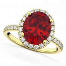 Oval Cut Halo Ruby & Diamond Engagement Ring 14K Yellow Gold 3.66ct