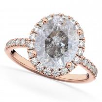 Oval Salt & Pepper Diamond & Diamond Engagement Ring 14K Rose Gold 3.51ct