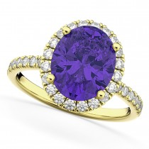 Oval Cut Halo Tanzanite & Diamond Engagement Ring 14K Yellow Gold 3.66ct