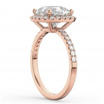 Cushion Cut Halo Diamond Engagement Ring 14k Rose Gold (2.55ct)