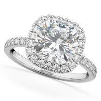 Cushion Cut Halo Diamond Engagement Ring 14k White Gold (2.55ct)