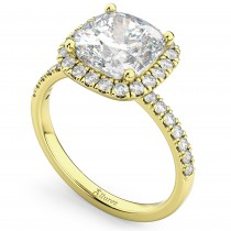 Cushion Cut Halo Diamond Engagement Ring 14k Yellow Gold (2.55ct)