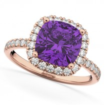 Cushion Cut Halo Amethyst & Diamond Engagement Ring 14k Rose Gold (3.11ct)