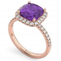 Cushion Cut Halo Amethyst & Diamond Engagement Ring 14k Rose Gold (3.11ct)