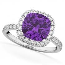 Cushion Cut Halo Amethyst & Diamond Engagement Ring 14k White Gold (3.11ct)