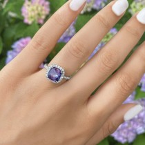 Cushion Cut Halo Amethyst & Diamond Engagement Ring 14k White Gold (3.11ct)